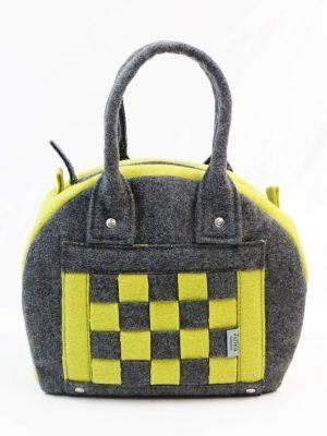 Frente de carteira burel em xadrez cinza e verde lima da Jutina