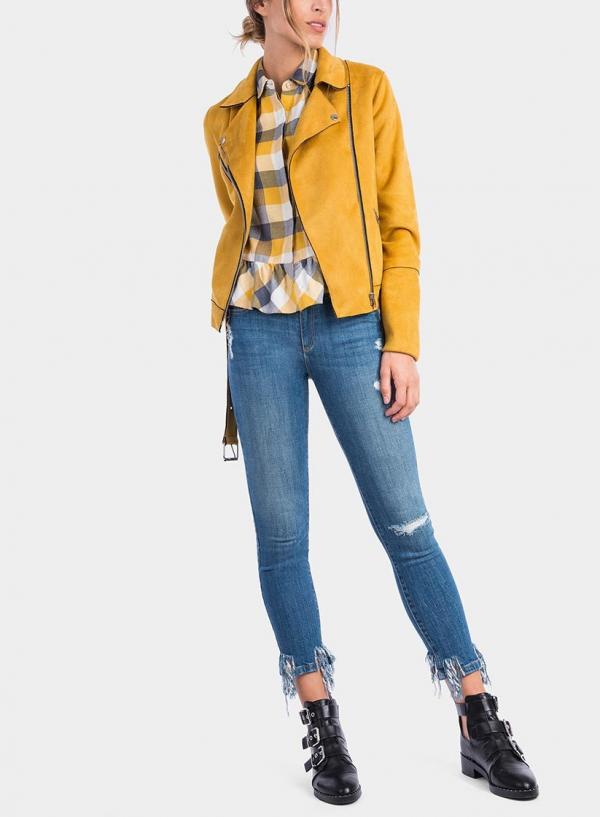 Frente de blusão Biker amarelo da Tiffosi