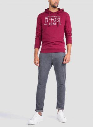 Frente das calças chino slim fit espinhada para homem da Tiffosi