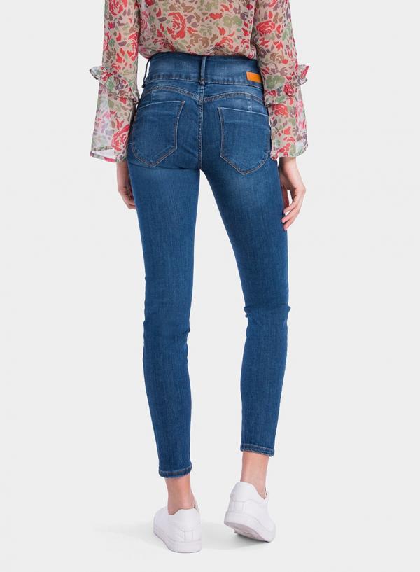 Parte de trás das calças de ganga Double-Up Skinny tachas da Tiffosi