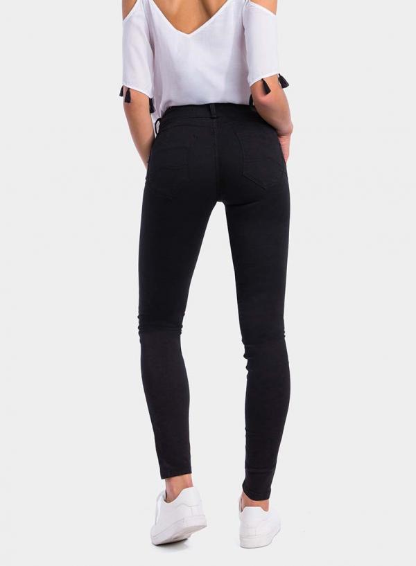 Parte de trás das calças pretas de sarja Double-up Skinny em preto da Tiffosi