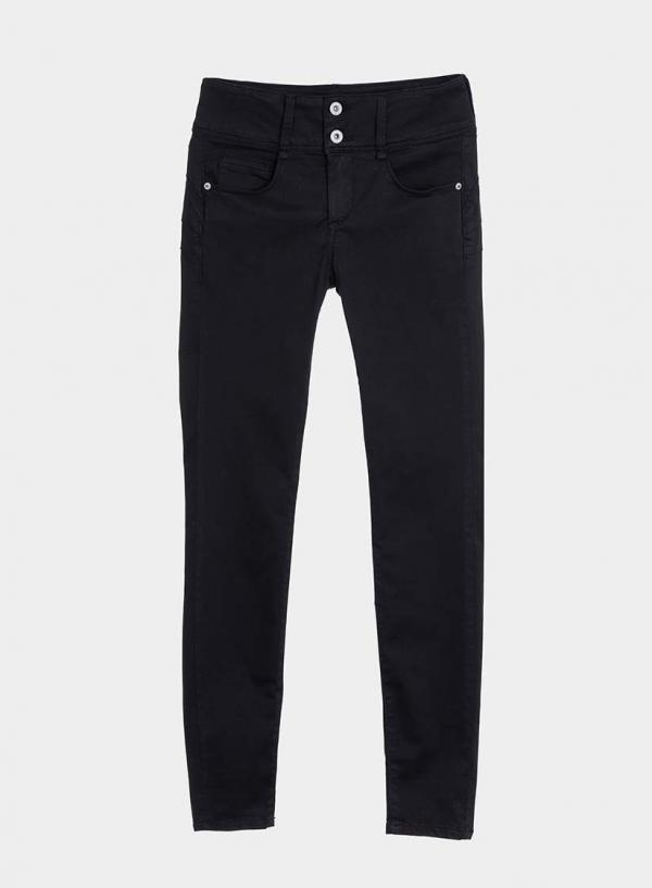 Calças pretas de sarja Double-up Skinny em preto da Tiffosi