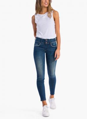 Frente das calças de ganga Double-up Skinny da Tiffosi