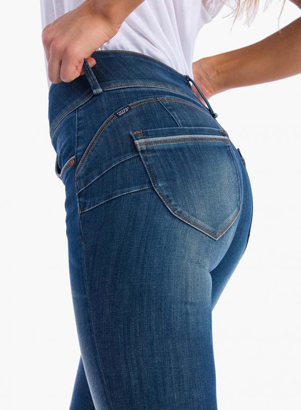 Pormoenor do bolso de trás das calças de ganga Double-up Skinny da Tiffosi