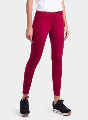 Frente de calça básica de sarja bordô cinta média para mulher da Tiffosi