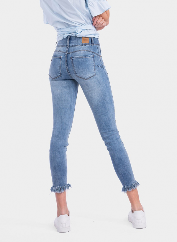 Parte de trás de jeans light Double-Up Skinny flor bordada da Tiffosi