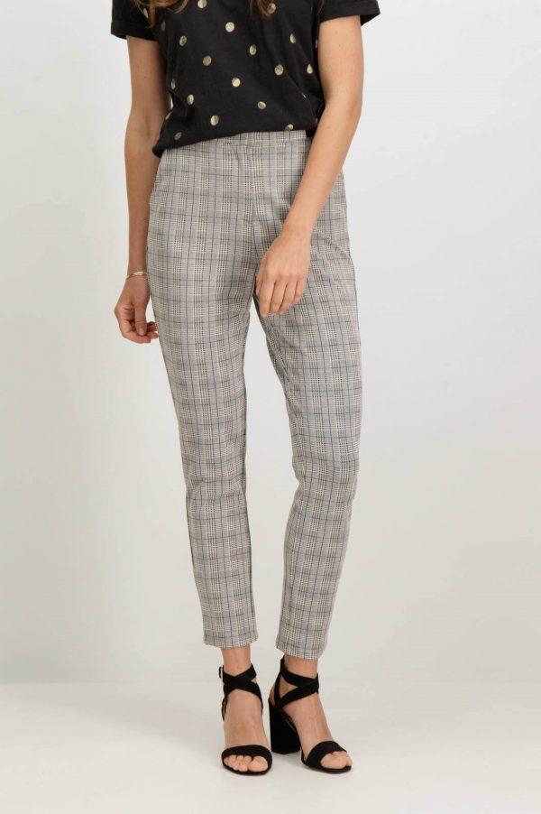 Frente de calças regular em xadrez Garcia Jeans para mulher