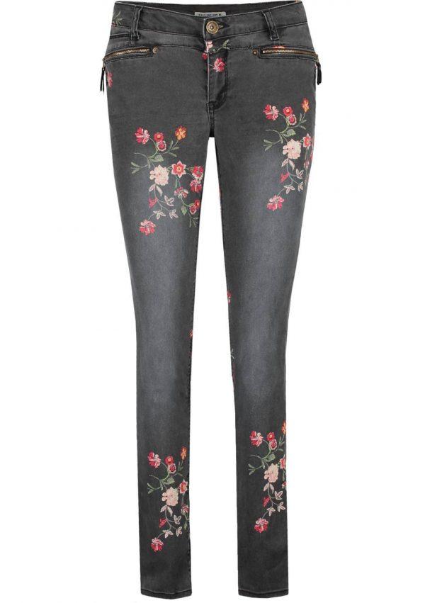Jeans com estampa floral em cinza escuro para mulher da Garcia Jeans