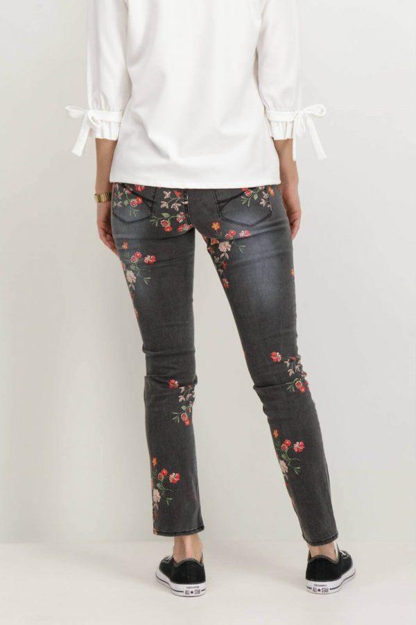 Parte de trás de Jeans com estampa floral em cinza escuro para mulher da Garcia Jeans