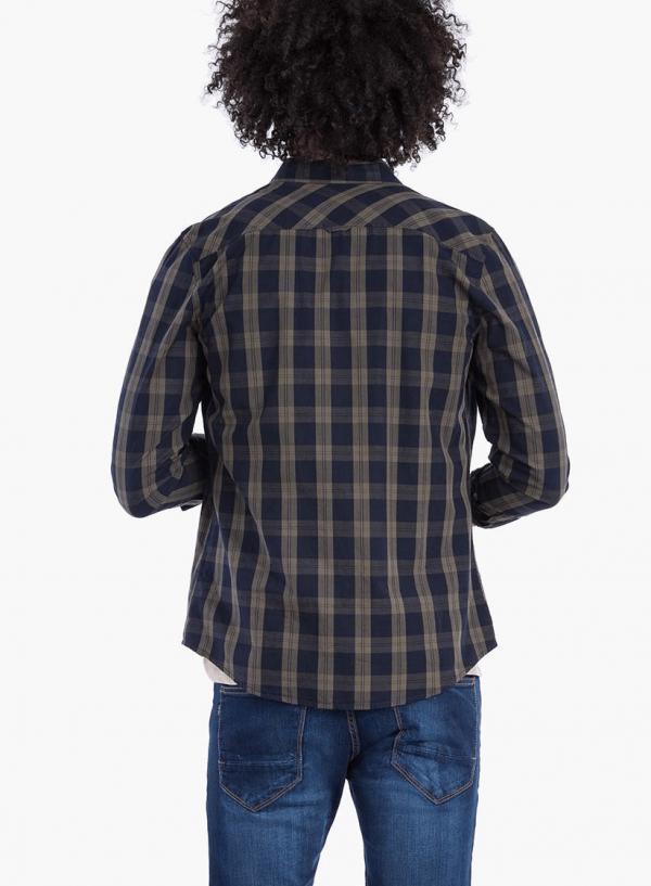 Costas da camisa regular fit xadrez verde para homem da Tiffosi