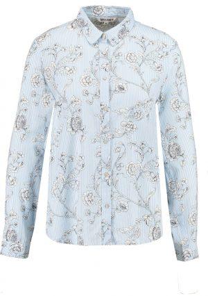 Camisa de risca com print floral em azul claro para mulher da Garcia Jeans
