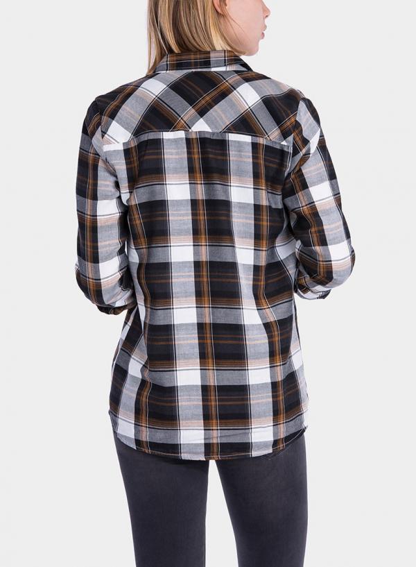 Costas da camisa de xadrez bege da Tiffosi