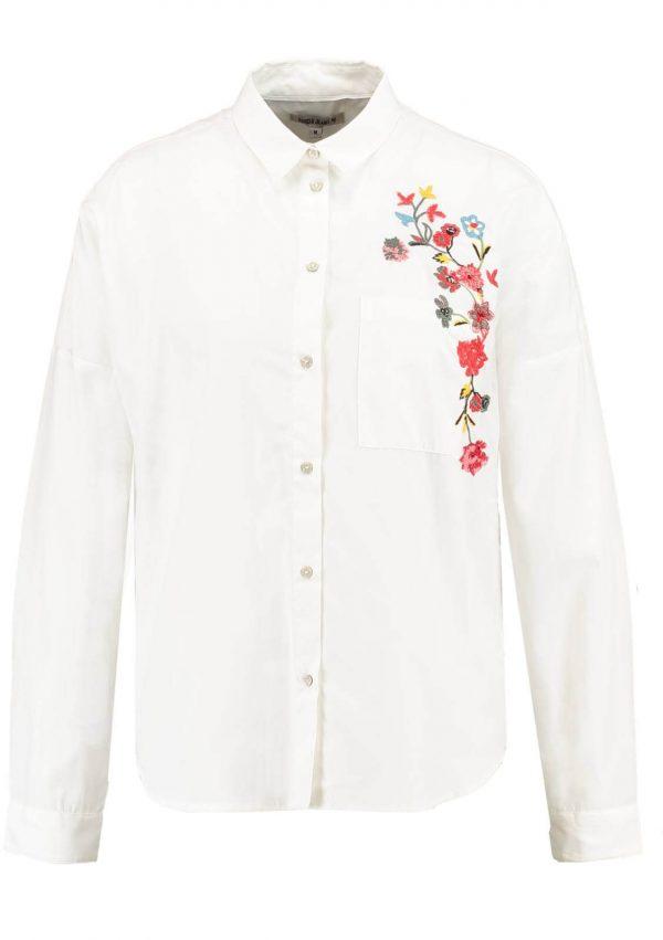 Camiseiro com flores bordadas em branco para mulher da Garcia Jeans