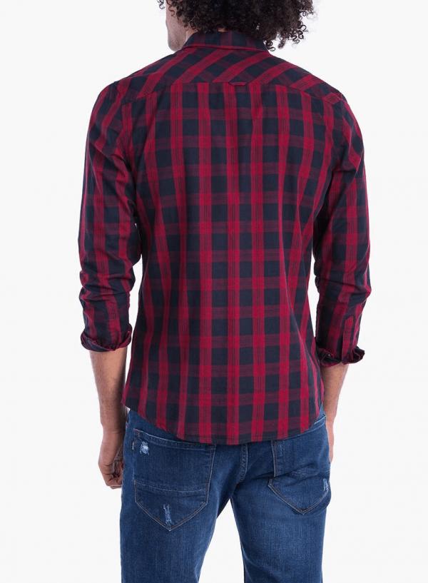 Costas da camisa regular fit xadrez vermelho para homem da Tiffosi