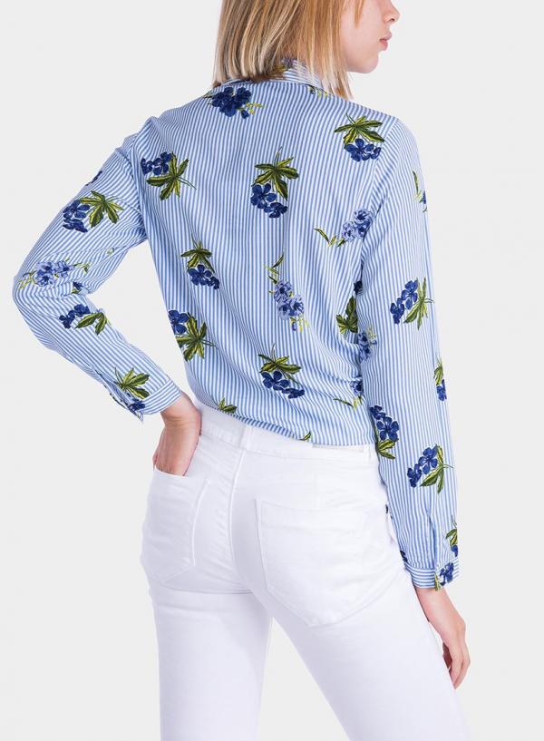Costas de camisa estampada floral com pérola da Tiffosi