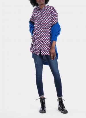 Frente de camisa comprida com print geométrico da Tiffosi