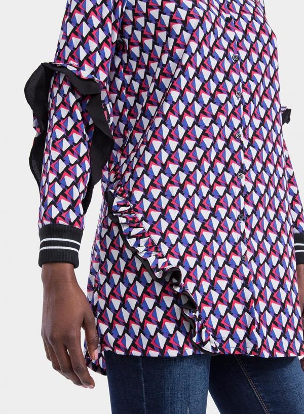 Lateral esquerdo de camisa comprida com print geométrico da Tiffosi