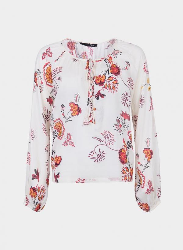 Frente isolada de blusa com estampa floral em tons de cru da Tiffosi