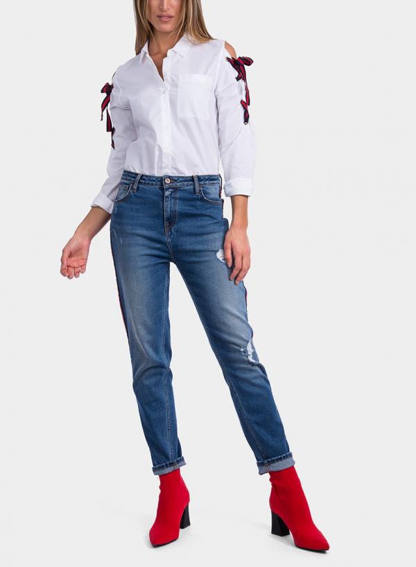Frente de blusa com laços bicolor da Tiffosi