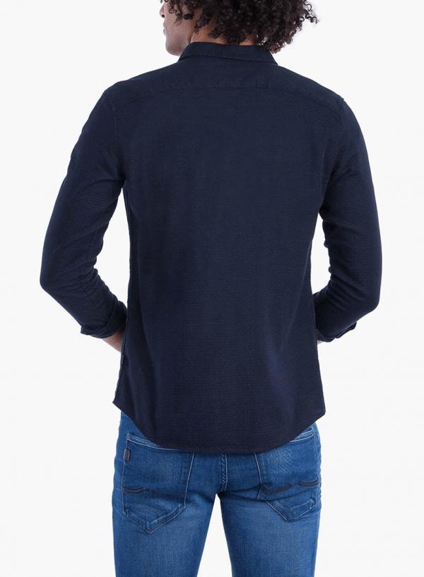 Costas de camisa slim fit textura azul marino para homem da Tiffosi