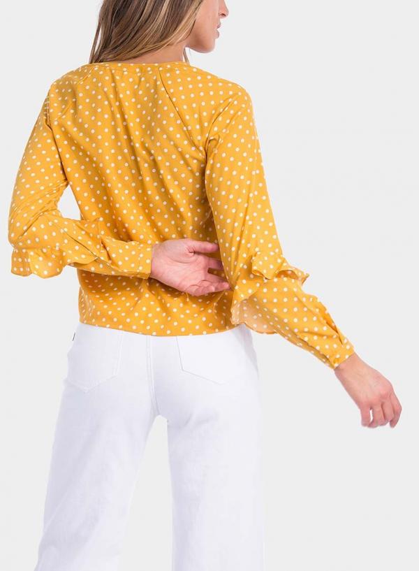 Costa de blusa às bolinhas com folhos em amarelo da Tiffosi