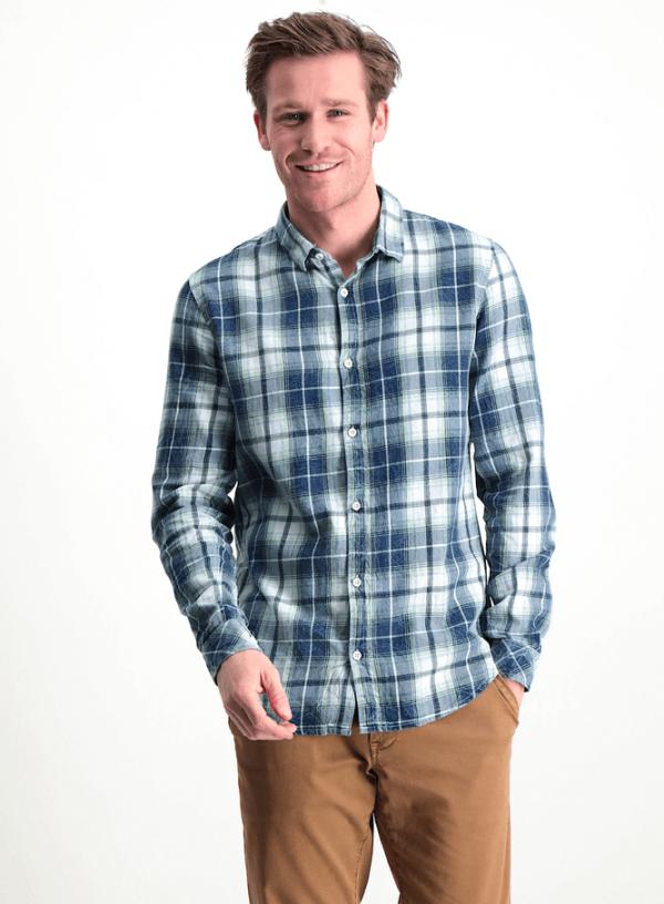 Camisa pré-lavada em xadrez azul para homem da Garcia Jeans