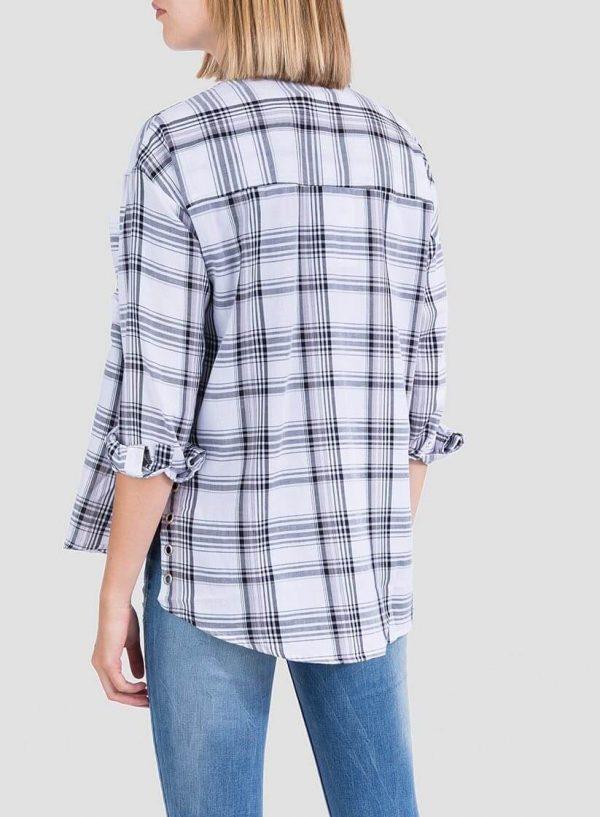 Costa de camisa xadrez branco com Ilhós para mulher da Tiffosi