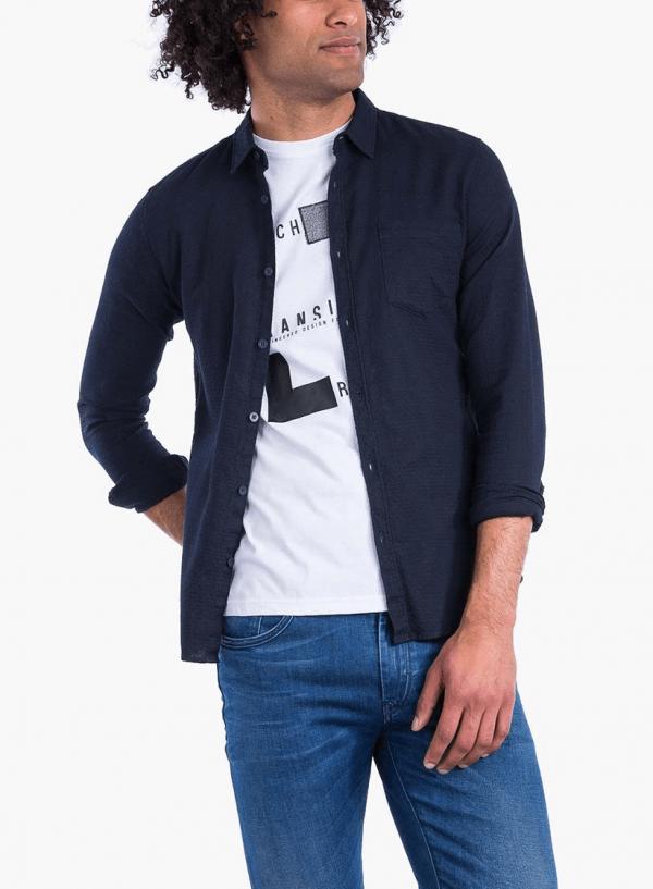 Frente combinada da camisa slim fit textura azul marino para homem da Tiffosi