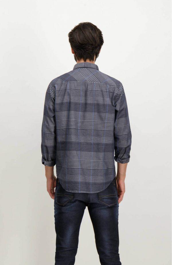 Costas da camisa listrada cinza para homem da Garcia Jeans