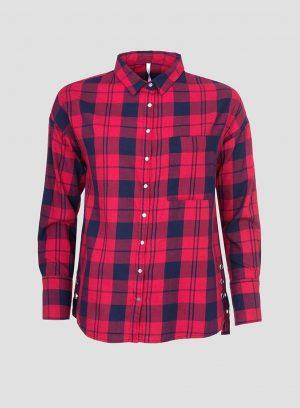 Camisa xadrez vermelho com Ilhós para mulher da Tiffosi
