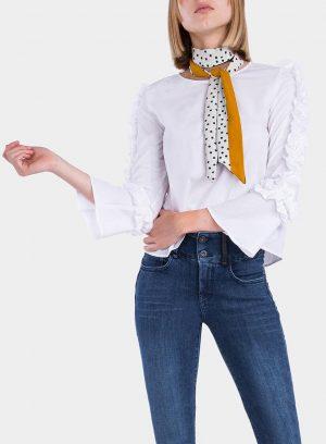 Frente da blusa com folhos nas mangas em branco para mulher da Tiffosi