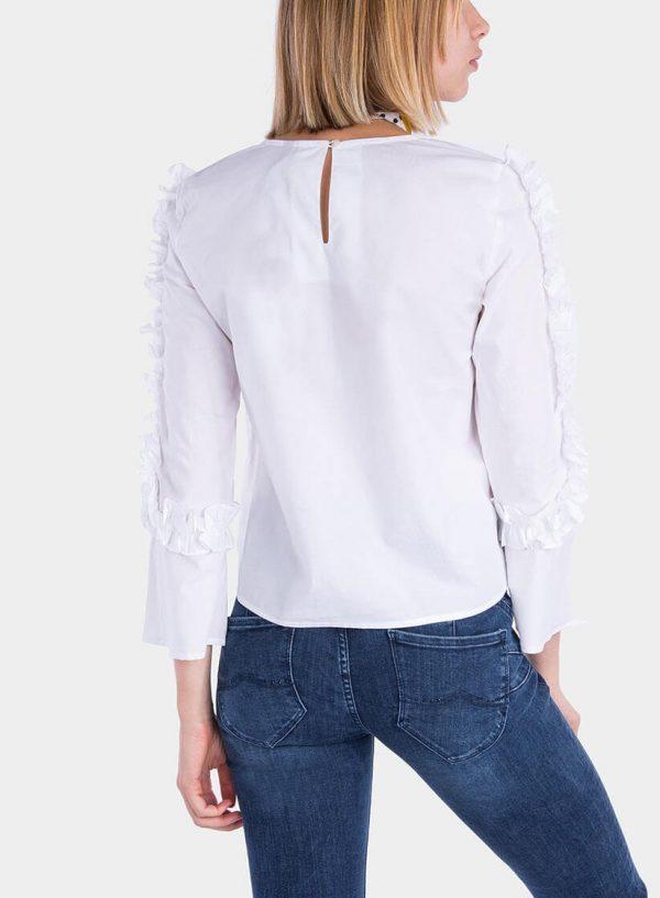 Costas de blusa com folhos nas mangas em branco para mulher da Tiffosi