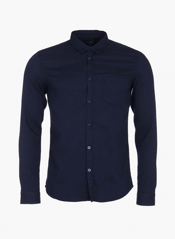 Camisa slim fit textura azul marino para homem da Tiffosi