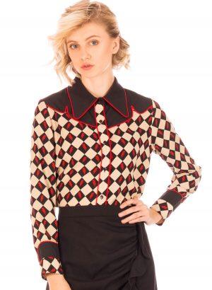 Camisa estampada com losangos para mulher da Minueto