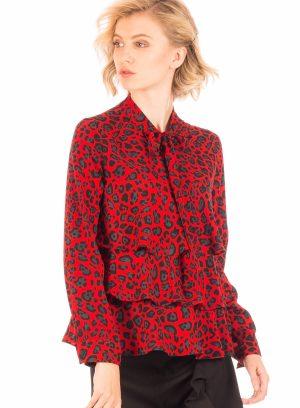 Camisa padrão leopardo vermelho para mulher da Minueto
