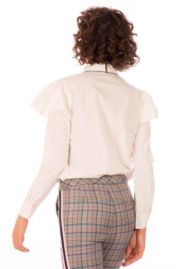 Costas de camisa com gola bordada em branco para mulher da Minueto