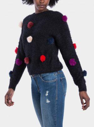 Frente de camisola malha pompons coloridos, para mulher da Tiffosi
