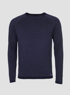 Camisola riscas decote redondo em azul marino para homem da Tiffosi