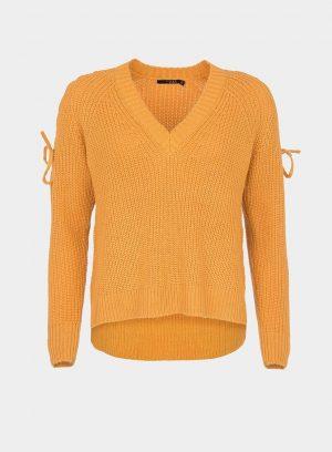 Camisola decote em V manga entrançada em amarelo para mulher da Tiffosi