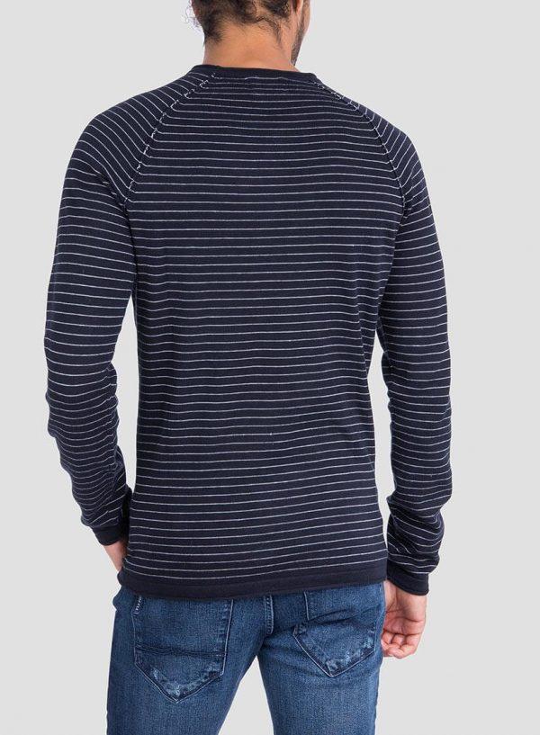 Costas de camisola riscas decote redondo em azul marino para homem da Tiffosi
