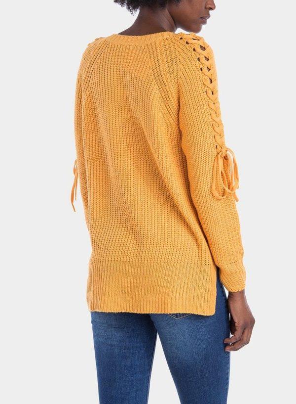 Costas de camisola decote em V manga entrançada em amarelo para mulher da Tiffosi