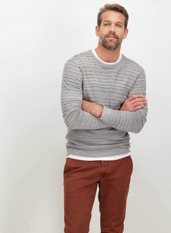 Camisola cinzenta com listas para homem da Garcia Jeans
