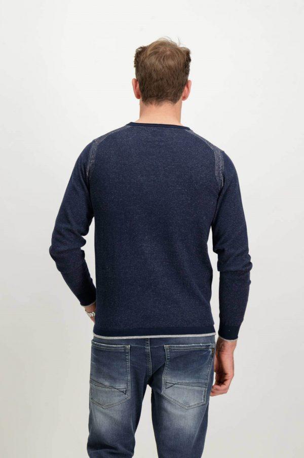 Costas da camisola azul com decote redondo para homem da Garcia Jeans