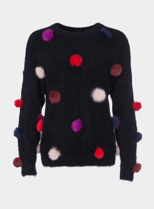 Camisola malha pompons coloridos para mulher da Tiffosi
