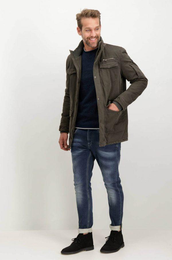 Frente combinada de camisola azul com decote redondo para homem da Garcia Jeans