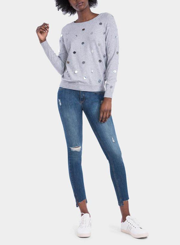 Frente de camisola malha com espelhos em cinza claro para mulher da Tiffosi