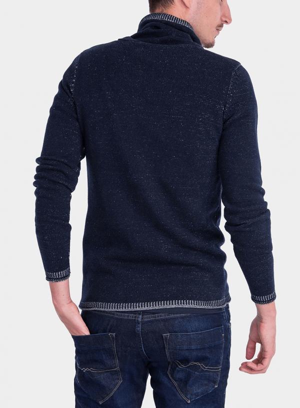 Costas da camisola pormenor gola em azul marino para homem da Tiffosi