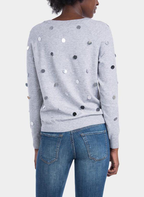 Costas de camisola malha com espelhos em cinza claro para mulher da Tiffosi