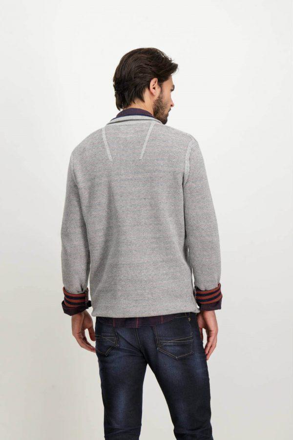Costas de cardigan cinzento com fecho para homem da Garcia Jeans