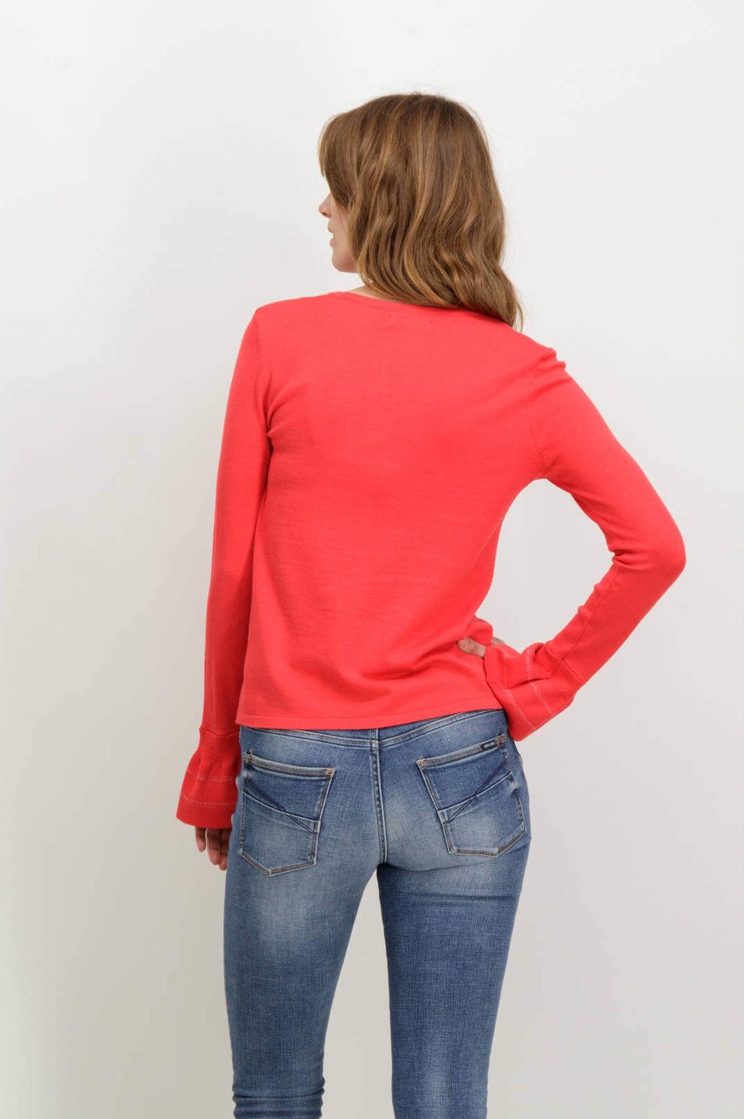 74b59ebfe ... Costas da camisola vermelha com gola redonda de mulher da Garcia jeans  ...